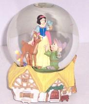 Disney Snow White Dwarf Dopey Deer Musical Snowglobe Retired Collectible - $109.95