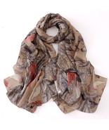 New 2016 Fashion Feather Print Scarf Women Shawls And Scarves Female Luxur^Brown - $53.00