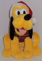 Disney Store Pluto Christmas Plush Toy Red Plaid Hat Shirt 2012 New - €53,81 EUR