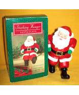 Vintage HALLMARK Stocking Hanger SANTA CLAUS Christmas Tree Ornament 1988 XMAS - $16.82