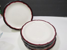 "Set of 6 Buffalo China Red Black Scalloped Edge Dinner Plates 9"" HTF RAR... - $47.52"