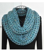 ArtyGirlz HAND CROCHETED Infinity Cowl Scarf GORGEOUS Key Largo Blue NEW - £34.22 GBP