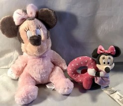 Adorable Set of 2 Disney Baby Minnie Mouse Pastel Pink/Polka Dot Rattle ... - $15.79