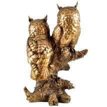 """Painted Bronze Tone Brown Owl Couple Owls in Tree 10.5"""" Resin Figurine image 3"""