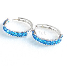 Aqua Blue Women Girl 25mm Simulated Diamond White Gold Plated Snap Hoop ... - $20.24