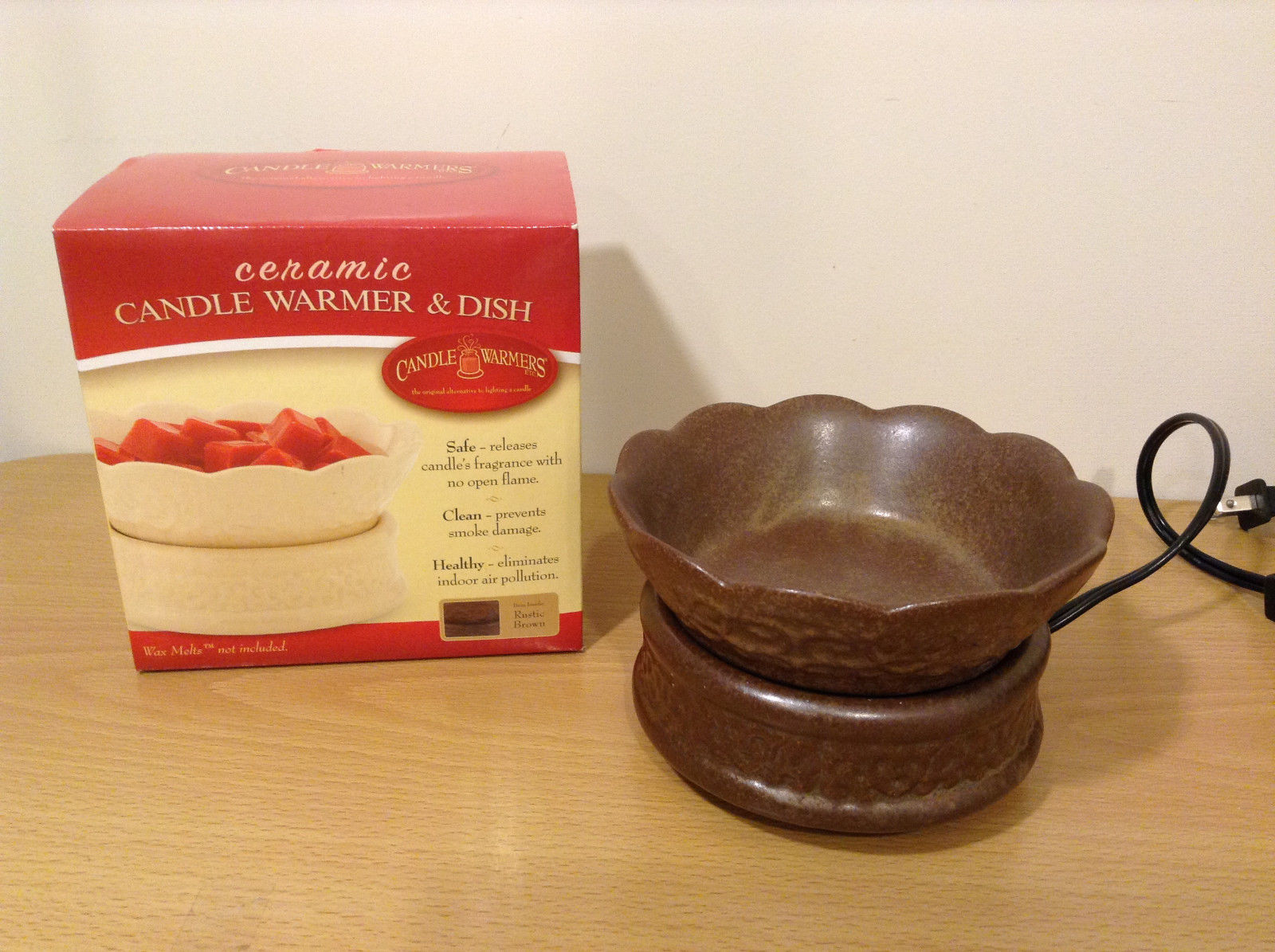 New in box Ceramic Rustic Brown Candle Fragrance Wax Warmer with Dish