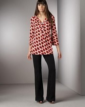 DIANE von FURSTENBERG GABY LARGE ARROW CUBE RED TUNIC TOP BLOUSE - US 4 ... - $106.29