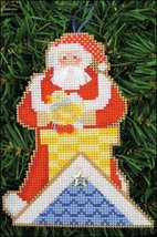 Up On The Rooftop Santa Olde Time Santa Ornament kit christmas perforate... - $5.40