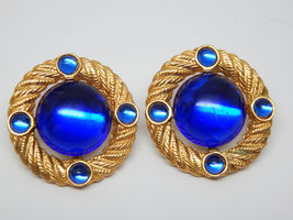 Royal Blue Cabochon Vintage PARK LANE Earrings in Gold tone - Pierced - ... - $42.00