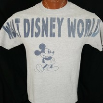 Walt Disney World Mickey Mouse M Gray Large Lettering Graphic T Shirt Cotton - $13.69