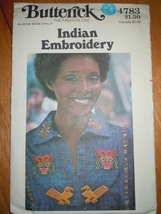 Vintage Butterick Misses One Size Indian Embroidery Pattern 4783 Uncut - $12.99