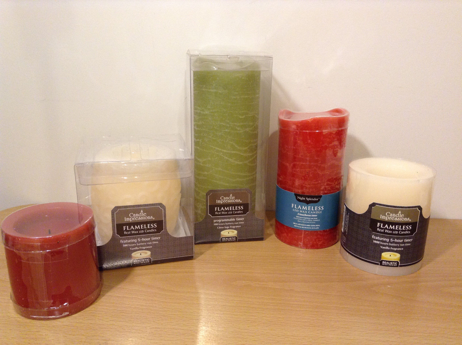 Holiday Home Decor Flameless Real Wax Scented Led Candles, Lot of 5