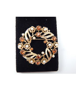 LISNER Brown Rhinestone and Pearl Open Leaf WREATH BROOCH Pin - Vintage ... - $55.00
