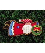 Welcome Wreath Santa Olde Time Santa Ornament kit christmas perforated p... - $5.40