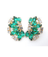 Designer JULIANA Huge Emerald Crystal and Rhinestone Vtg EARRINGS in Gol... - $45.00