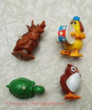 Windup Figure Lot Tomy 1977 turtle owl dog dinosaur - $16.99