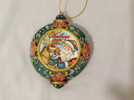"G Debrekht Winter Christmas Wooden Like Ornament ""Okolona, MS"" Santa with Deer - $39.99"