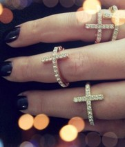 Stylish Rhinestone Cross Elastic Beaded Women's Ring(Color:Black /Gold /... - $4.99