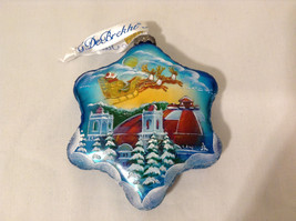 G Debrekht Winter Christmas Glass Ornament Santa on Sleds Hand Painted