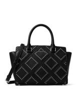 Michael Kors Diamond Grommet Black Leather Zip ... - $659.99