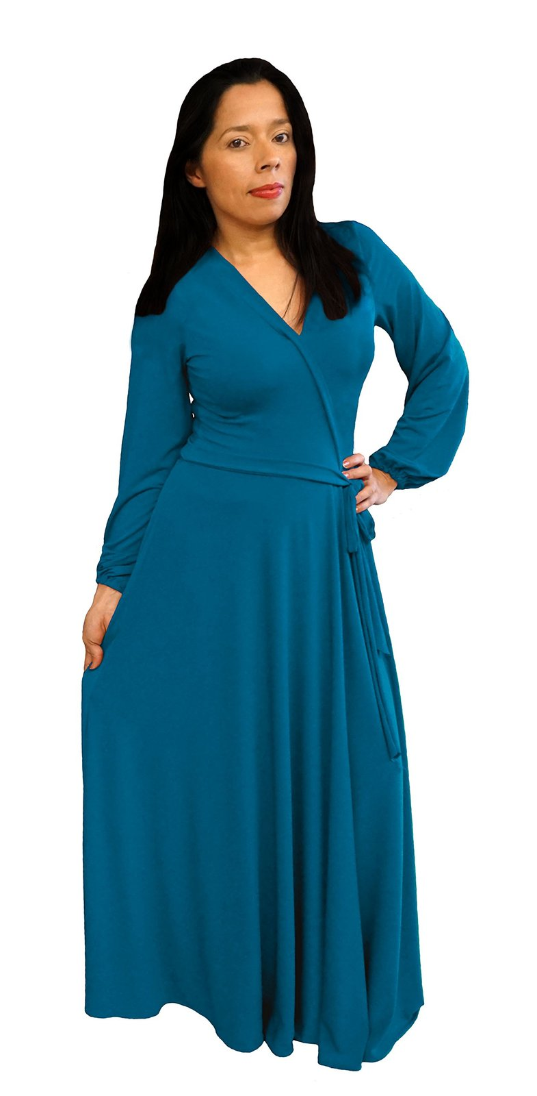 DBG Women's Teal Polyester Long Sleeves Maxi Dress-Medium