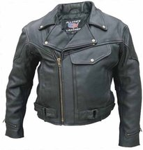 Allstate Leather Black Buffalo Leather Vented Motorcycle Jacket Zip Out ... - $204.82