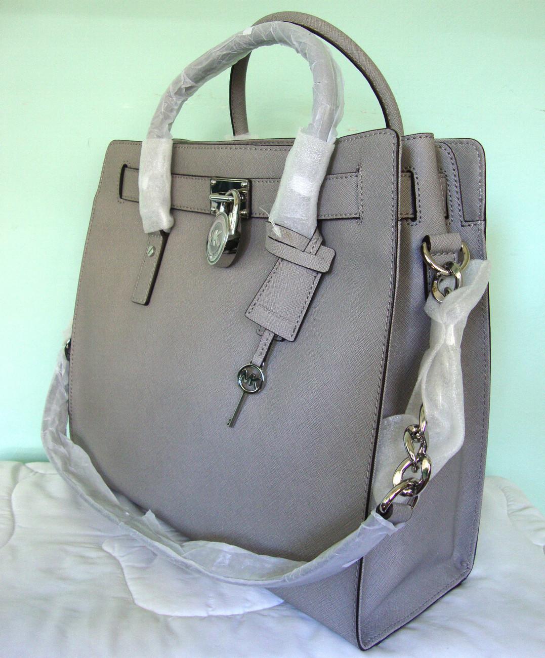 NWT MICHAEL KORS Hamilton SAFFIANO LEATHER PEARL GREY LG Gray Tote Handbag  AUTH