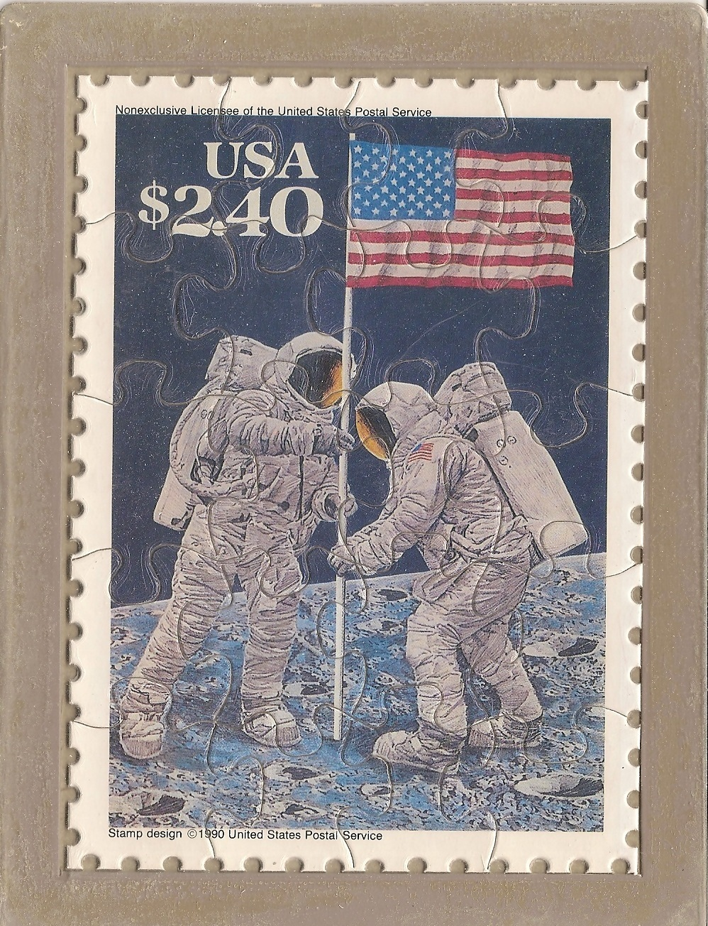 USPS POSTCARD - Commemorative Puzzle series - MOON LANDING - FREE SHIPPING
