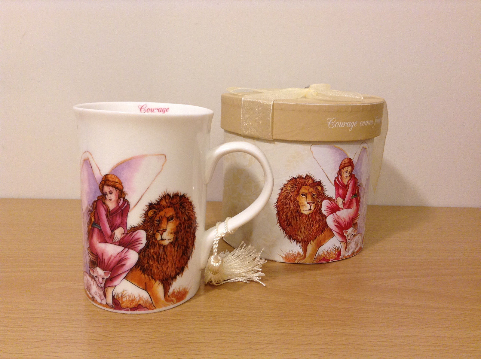 "White Porcelain Gift Mug ""Angel of Courage"" by AngelStar NIB"