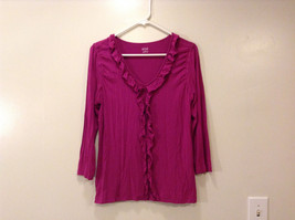 A.n.a. (A new approach) Fuchsia pink jersey blouse V-neck 3/4 sleeve size L