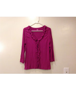 A.n.a. (A new approach) Fuchsia pink jersey blouse V-neck 3/4 sleeve size L - $39.99