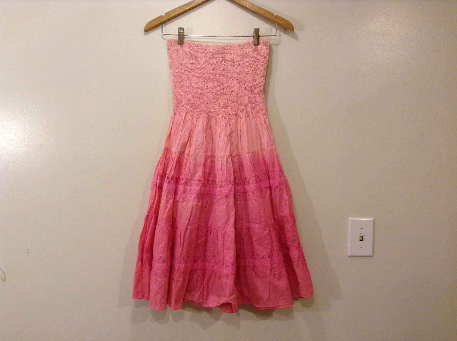 Nancy-K Pink Strapless 100% cotton dress, size M Elastic top Layered skirt
