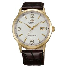 Orient ER27004W Men's Symphony Automatic White Dial Gold Tone Leather St... - $148.41