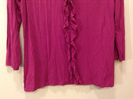 A.n.a. (A new approach) Fuchsia pink jersey blouse V-neck 3/4 sleeve size L image 4