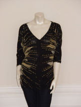 DIANE von FURSTENBERG BINI PHOTOGRAPHIC SUN BLACK TOP  BLOUSE - US 6 - U... - $116.93