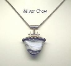 Sterling Silver Missouri Lace Agate Pendant Necklace - $102.99