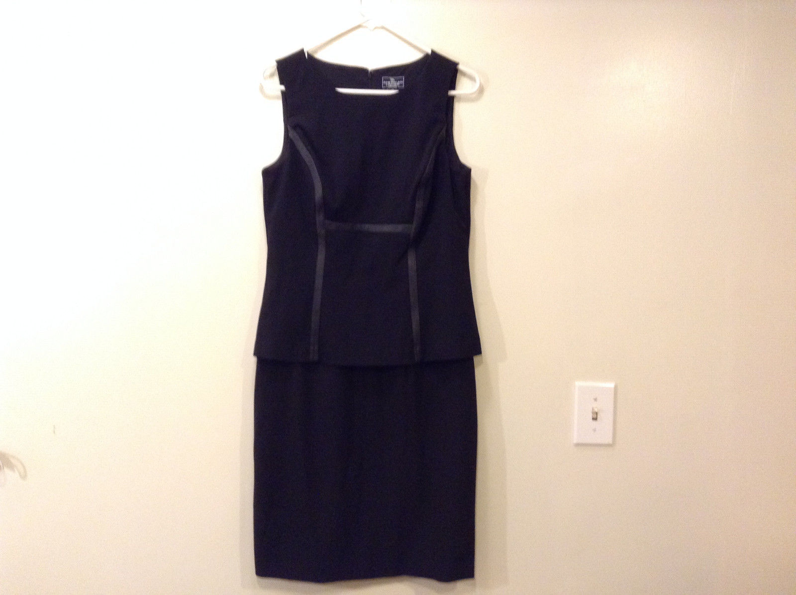 American Living Sleeveless Black dress with Faux Leather trim, size 10