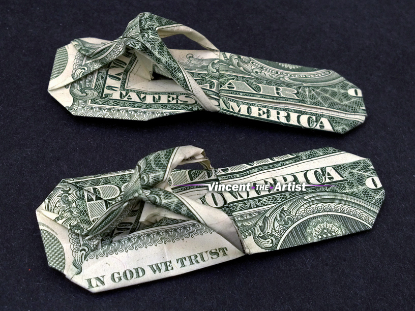 b12fece2eecf82 SANDALS Money Origami Art Dollar Bill Cash Slippers Thongs Flip Flops Shoes