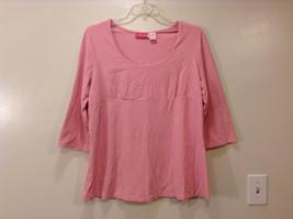 Maternity Liz Lange Stretch Pink Tee Blouse 3/4 sleeve size XXL Deep Scoop Neck image 1
