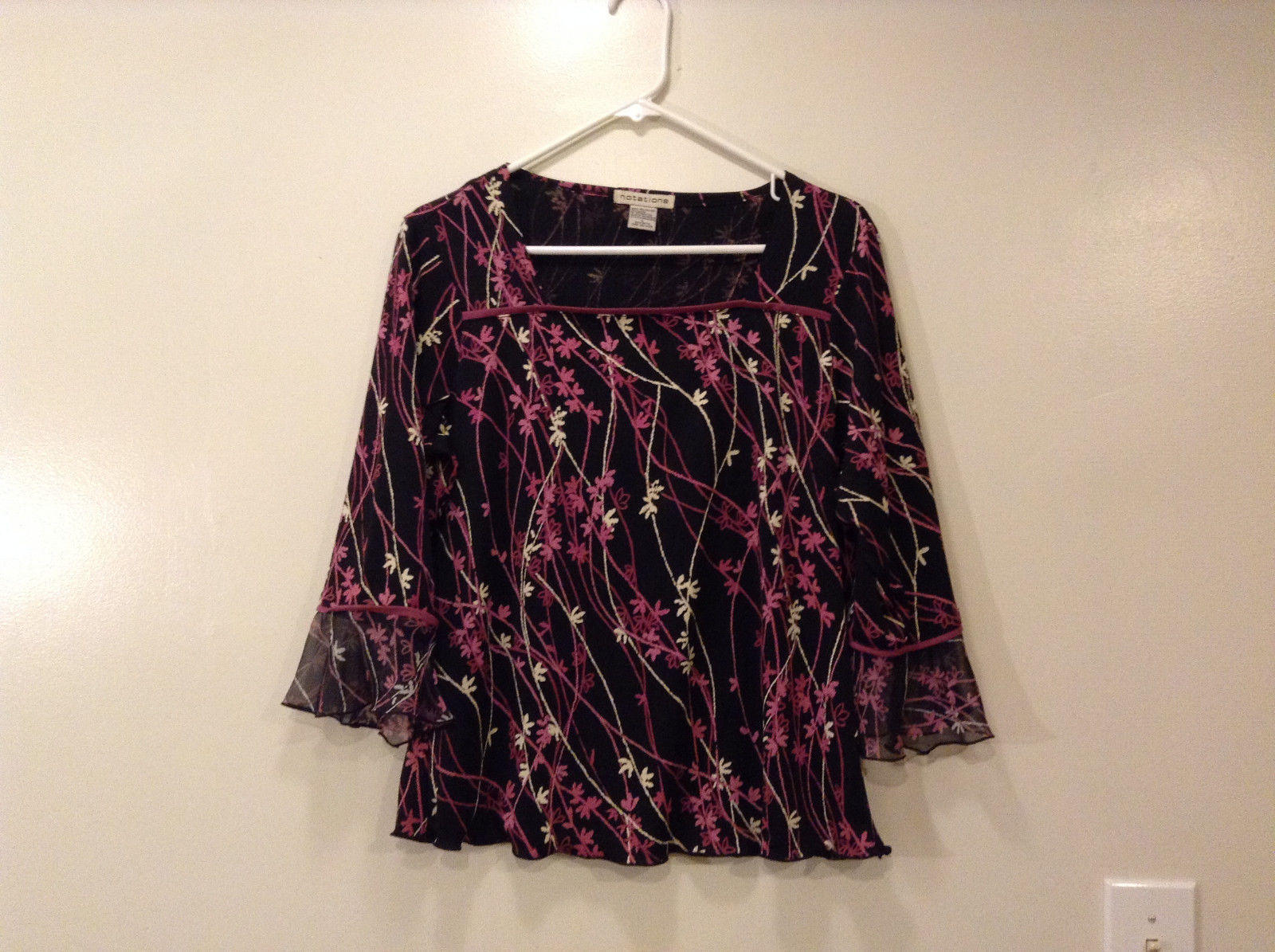 Notation Ladies Floral Blouse 3/4 sleeve 100% polyester size L