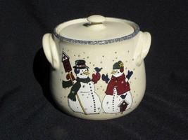Home & Garden Party Nov. 2000 Snowman & Woman Cookie Jar or Bean Pot - $6.99