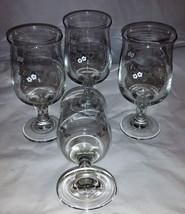 Set of 4 Pfaltzgraff Flower Pattern Water / Wine Stem Glasses - $14.99