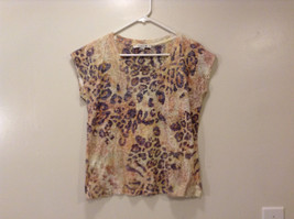 Forever 21 Ladies Animal Print T-shirt Blouse Polyester/Cotton size S Scoop Neck