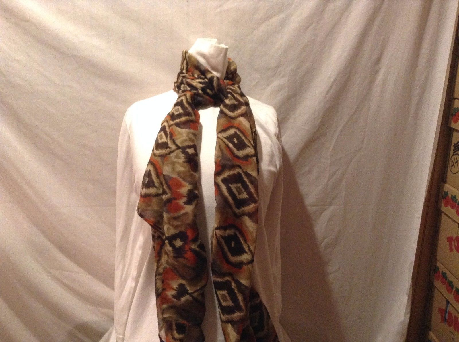Brown Black Beige Orange Sheer Scarf Skewed Diamond Pattern