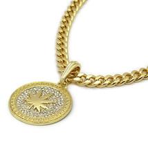 "Men's Medallion Pattern Marijuana Gold 24"" Cuban Chain Box Double Clip N... - $19.78"