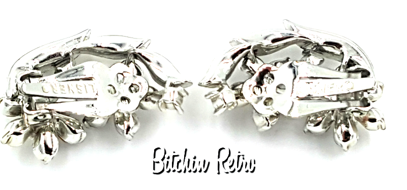 Lisner Vintage Rhinestone Floral Earrings with Bridal Style