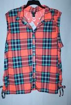 New Womens Plus Size 3 X Brite Orange & Aqua W Orange Lace Back Tank Top Shirt - $17.41