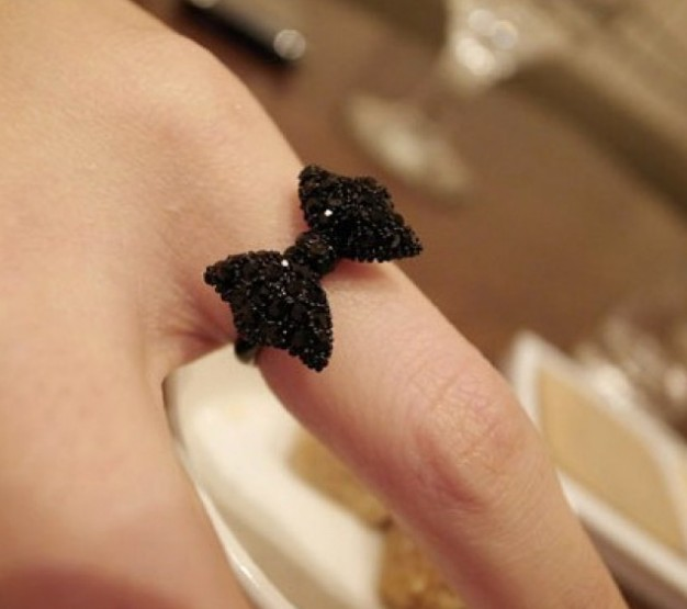 Primary image for Fashion Black Rhinestone Bow Cocktail Ring