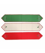 Embroidered Table Runner New Christmas Red Green White Joy Love Peace 13... - $24.99