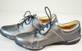 Clarks Un Honey Leather Lace-Up Sneaker Shoes Womens 8.5 Silver Pewter Metallic - $49.49